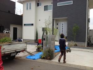 玄関ポーチ植樹作業。